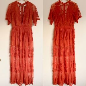 NWT Honey Punch Lace Romper Dress Maxi Deep V